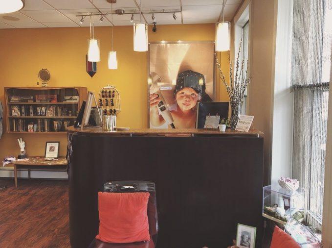 The front desk at Salon Nova.